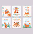 wild tribal fox poster be brave find adventure vector image vector image