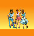 young women stand back vector image vector image