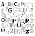 Hand drawn alphabet letters vector image