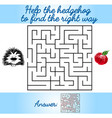logical task for children with a maze and hedgehog vector image