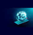 5g network wireless connection on smartphone vector image vector image
