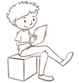 A simple sketch of a boy using a mobile vector image vector image