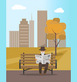 autumn park and elderly man reading newspaper vector image vector image