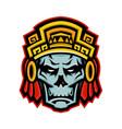 aztec warrior skull mascot vector image vector image