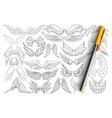 bird wings patterns doodle set vector image
