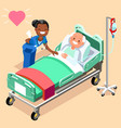 black nurse or family doctor at male patient bed vector image vector image