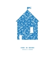 blue white lineart plants house silhouette pattern vector image vector image