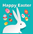 bright wonderful easter card with rabbits and eggs vector image vector image