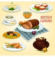 British cuisine traditional dishes for lunch icon vector image vector image