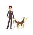 businessman walking his pet dog vector image vector image