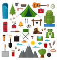 cartoon mountain hike elements set vector image vector image