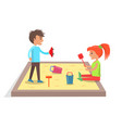 children play with toys in sandbox vector image vector image