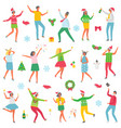 christmas party people celebration set vector image vector image