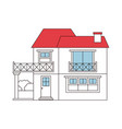 color sections silhouette of house with two floors vector image vector image