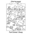 coloring sheep vector image vector image
