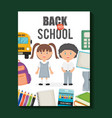 cute little students with set supplies around vector image vector image