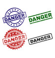 damaged textured danger stamp seals vector image