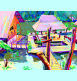 digital painting asia landscape river in vector image