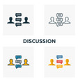 Discussion icon set four elements in diferent