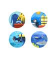 Diving icon set