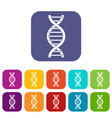 dna spiral icons set flat vector image vector image