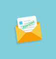 envelope with approved letter in flat design vector image vector image
