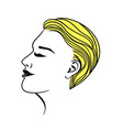 female short haircut yellow isolate on a white vector image vector image