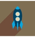 Flat web icon with long shadow rocket vector image vector image