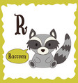funny cartoon animals r letter cute alphabet for vector image