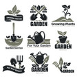 gardening service and garden plants icons vector image