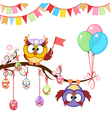 Greeting Easter card with owls vector image