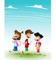 group of kids going to school together vector image vector image