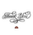hand drawn lettering thank you with soft vector image vector image