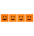 happy halloween pumpkin set line funny creepy vector image vector image