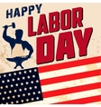 Happy labor day card template Flag of USA on vector image vector image