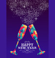 happy new year 2019 glass triangle hipster color vector image vector image