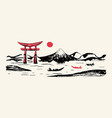 japan panorama mountain fuji red gate hand drawn vector image