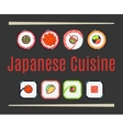 Japanese cuisine restaurant logo template vector image vector image