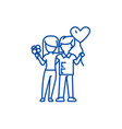 loving couple with flowers and balloons line icon vector image vector image