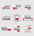 made in poland labels set made in poland product vector image vector image