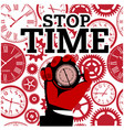 male hand holding stopwatch gears red background v vector image