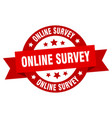 online survey ribbon online survey round red sign vector image vector image