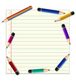 paper template with pencils on line paper vector image vector image