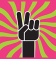 peace sign hand gesture flat drawing vector image