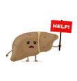 sad unhealthy sick liver with nameplate help vector image vector image