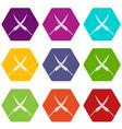 samurai swords icon set color hexahedron vector image vector image
