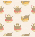 seamless pattern with cute sloths jumping of vector image vector image