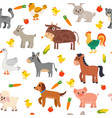 seamless pattern with farm animals vegetables and vector image vector image