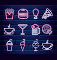 set fast food and beverage neon light label vector image vector image