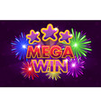 set mega big win banner for lottery or vector image vector image
